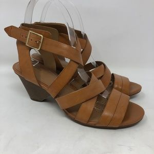 90cf5ea28b9e48 Clarks Tan Leather Heeled Stappy Sandals 7.5